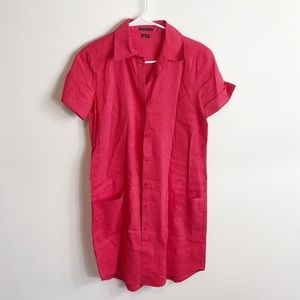 Theory Red Linen Button Down Dress Size 2